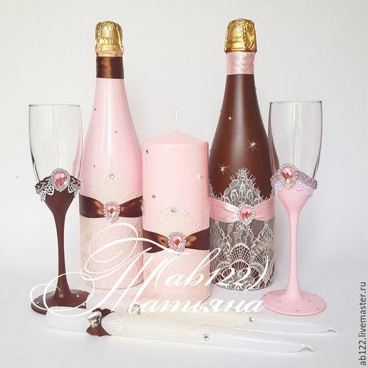 Свадебные аксессуары ручной работы. Ярмарка Мастеров - ручная работа. Купить Розово-коричневый набор аксессуаров. Handmade. Розовый