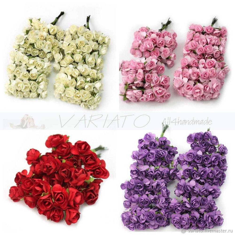 Цветы бумажные 8 см 4 цвета, Цветы искусственные, Липецк,  Фото №1