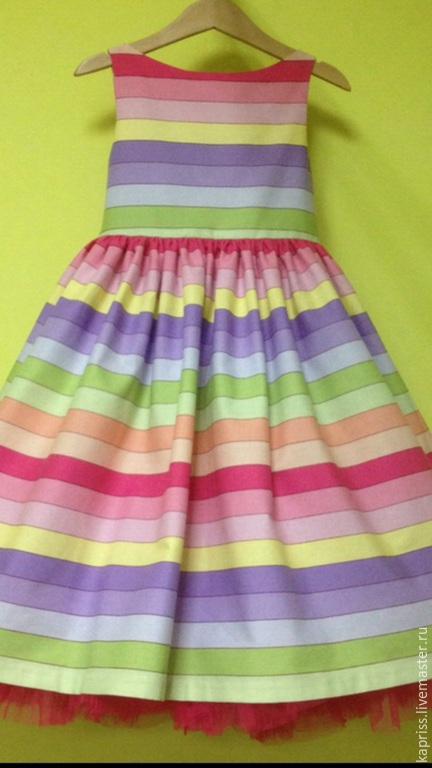 """Одежда для девочек, ручной работы. Ярмарка Мастеров - ручная работа. Купить Платье """"Веселые полосочки"""". Handmade. Разноцветный, платье для выпускного"""