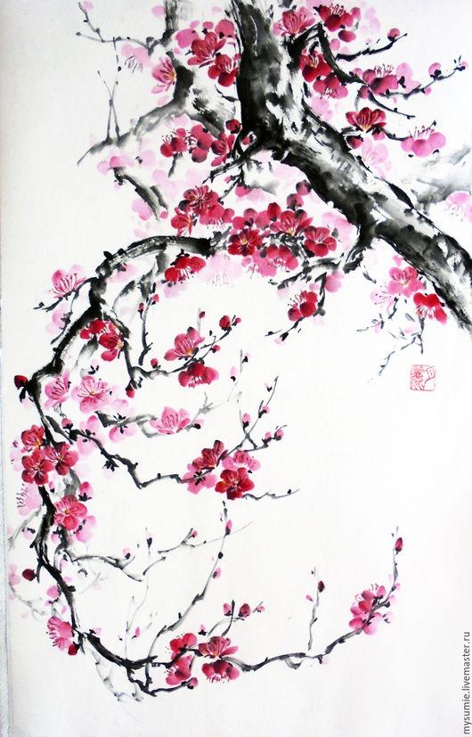 Картины цветов ручной работы. Ярмарка Мастеров - ручная работа. Купить Дыхание весны. Handmade. Комбинированный, китайская живопись, цветы