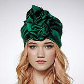 Аксессуары handmade. Livemaster - original item Emerald Green Silk turban hat hijab millinery. Handmade.