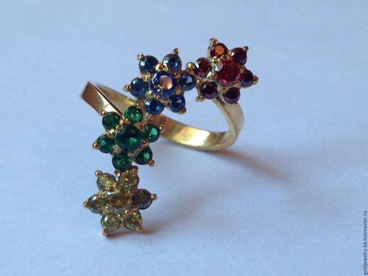 Серьги ручной работы. Ярмарка Мастеров - ручная работа. Купить Серебряное кольцо 925 пробы 18K позолота Цветочки. Handmade.
