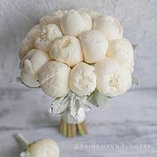 Свадебные букеты ручной работы. Ярмарка Мастеров - ручная работа Свадебный букет невесты из белых пионов 19 шт. Handmade.