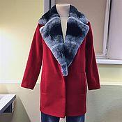 Одежда ручной работы. Ярмарка Мастеров - ручная работа Утеплённое пальто с мехом кролика-рекс. Handmade.