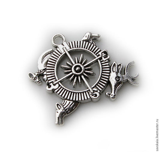 Стимпанк подвеска Компас для авторских украшений Рзмер 3.6 см x 3.2 см, античное серебро
