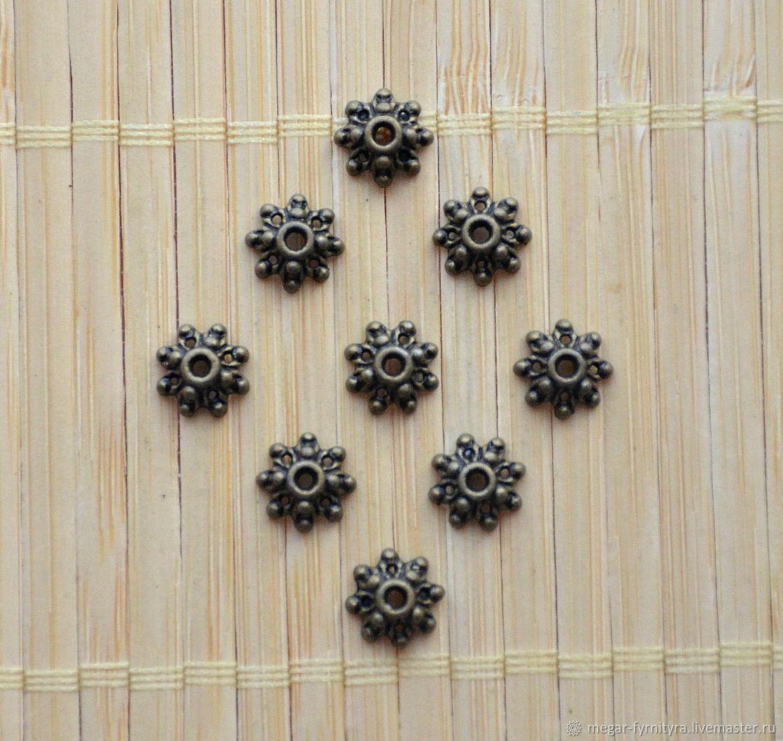10 шт. Шапочки 9х3.5 мм, Фурнитура, Колпино,  Фото №1