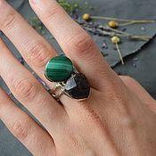 Украшения handmade. Livemaster - original item Double ring with malachite and red garnet (pyrope, almandine). Handmade.