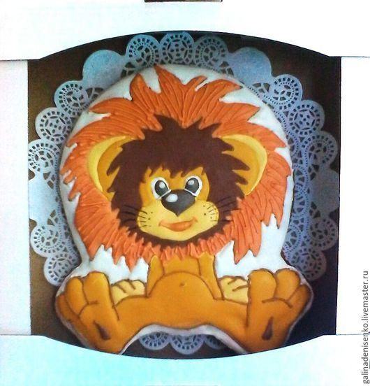 Кулинарные сувениры ручной работы. Ярмарка Мастеров - ручная работа. Купить Пряник Львенок. Handmade. Оранжевый, пряник львенок