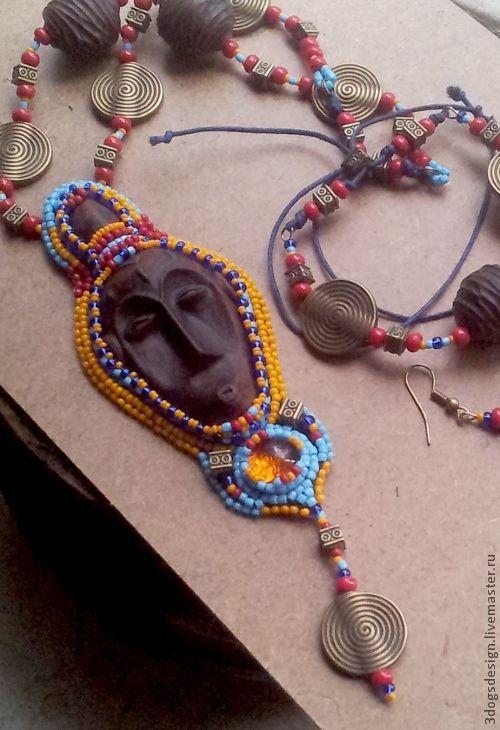 Комплекты украшений ручной работы. Ярмарка Мастеров - ручная работа. Купить Капитан Африка. Handmade. Желтый, маска, этно, стекло