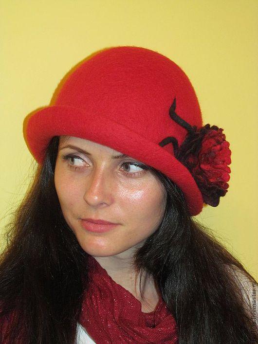 """Шляпы ручной работы. Ярмарка Мастеров - ручная работа. Купить шляпка валяная """"Страсть""""для смелых и уверенных в се. Handmade."""