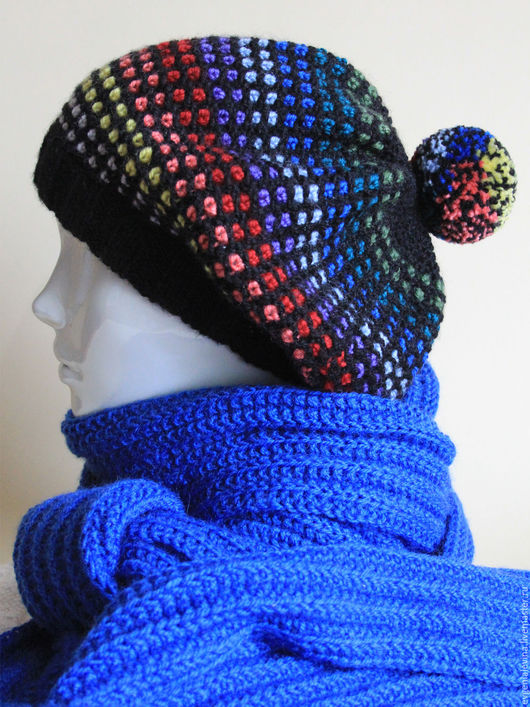 Береты ручной работы. Ярмарка Мастеров - ручная работа. Купить Женская шапка-берет с помпоном. Handmade. Комбинированный, берет вязаный