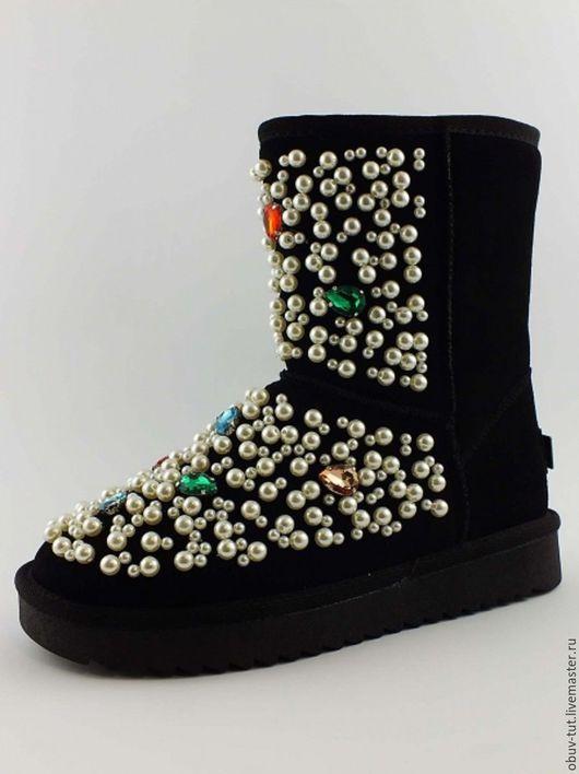 Обувь ручной работы. Ярмарка Мастеров - ручная работа. Купить Угги замшевые с жемчугом и камнями  35,36,37,38,39,40,41. Handmade.