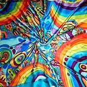 """Аксессуары ручной работы. Ярмарка Мастеров - ручная работа Платок батик """"Город радуг. Голубой"""". Handmade."""