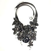 Украшения handmade. Livemaster - original item Necklace made of genuine black leather and stones, Night of Black Butterflies. Handmade.