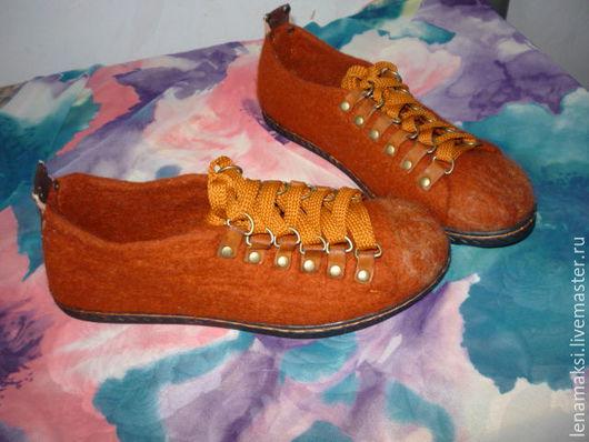 """Обувь ручной работы. Ярмарка Мастеров - ручная работа. Купить Кеды валяные """"Рыжики"""". Handmade. Рыжий, женская обувь"""