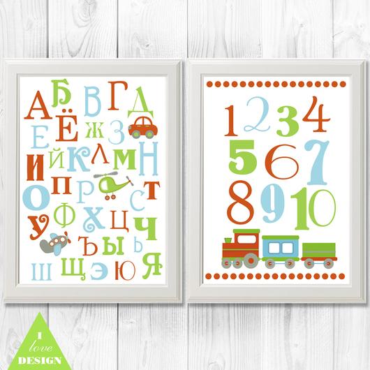 Детская ручной работы. Ярмарка Мастеров - ручная работа. Купить Постер в детскую Алфавит и Цифры. Handmade. Разноцветный, Декор, в детскую