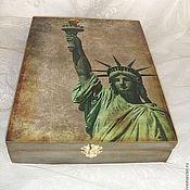 """Для дома и интерьера ручной работы. Ярмарка Мастеров - ручная работа Шкатулка """"Из Нью-Йорка с любовью"""". Handmade."""