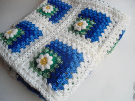 Текстиль, ковры ручной работы. Ярмарка Мастеров - ручная работа. Купить Плед Небо в ромашках. Handmade. Синий, плед для малыша