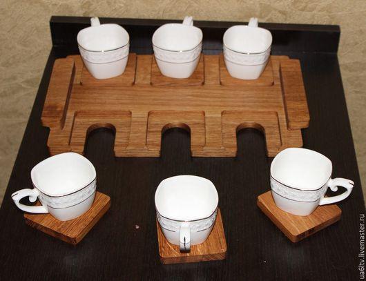 Кухня ручной работы. Ярмарка Мастеров - ручная работа. Купить Поднос для чашек. Handmade. Коричневый, подставки под чашки