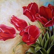 Картины и панно handmade. Livemaster - original item Oil painting with flowers Red tulips. Handmade.