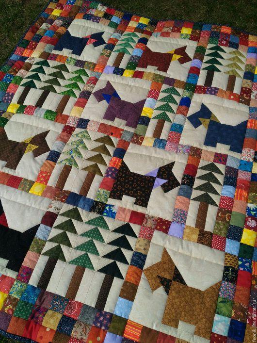 """Текстиль, ковры ручной работы. Ярмарка Мастеров - ручная работа. Купить Лоскутное одеяло """"Вышли песики гулять"""". Handmade. для мальчика"""