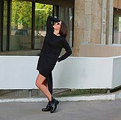Одежда handmade. Livemaster - original item Tunic dress knit purple rectangle Black. Handmade.