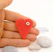 Украшения ручной работы. Ярмарка Мастеров - ручная работа Красная брошь теплое сердце. Handmade.