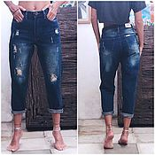 Одежда handmade. Livemaster - original item Womens jeans dark blue ripped model 2. Handmade.