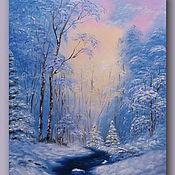 Картины и панно handmade. Livemaster - original item Picture winter morning Picture of blue color. Handmade.