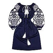 """Одежда ручной работы. Ярмарка Мастеров - ручная работа Шерстяное платье-вышиванка """"Морозная Сказка"""". Handmade."""