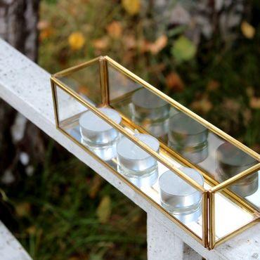 Для дома и интерьера ручной работы. Ярмарка Мастеров - ручная работа Латунный подсвечник для чайных свечей. Стекло, золотая латунь, зеркало. Handmade.
