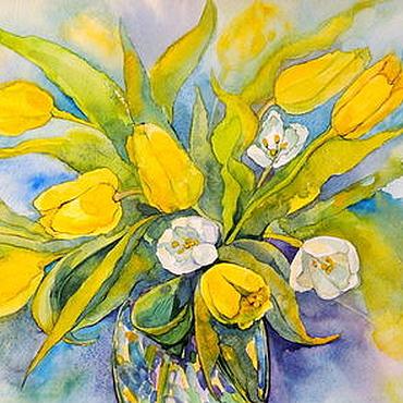 """Картины и панно ручной работы. Ярмарка Мастеров - ручная работа Акварель """"Желтые тюльпаны"""" 42х30 см.. Handmade."""