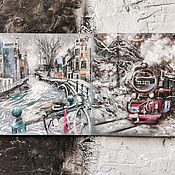 Картины и панно handmade. Livemaster - original item Journey in winter-picture with train. Handmade.