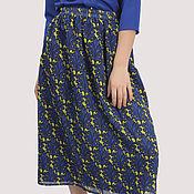 Одежда handmade. Livemaster - original item Chiffon skirt with elastic print blue yellow MIDI. Handmade.