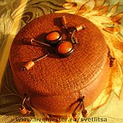 Для дома и интерьера ручной работы. Ярмарка Мастеров - ручная работа Шкатулка деревянная в натуральной коже. Handmade.