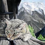 Картины и панно ручной работы. Ярмарка Мастеров - ручная работа Мурлыкая в горах (картина). Handmade.
