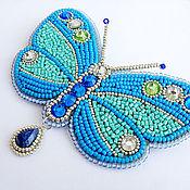 "Украшения ручной работы. Ярмарка Мастеров - ручная работа Брошь""Blue butterfly"". Handmade."
