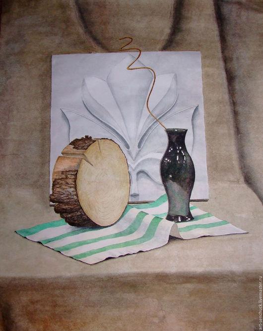 """Натюрморт ручной работы. Ярмарка Мастеров - ручная работа. Купить Натюрморт акварельный """"с вазой"""". Handmade. Комбинированный, натюрморт, дерево"""