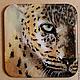 Животные ручной работы. Ярмарка Мастеров - ручная работа. Купить Леопард настенное панно миниатюра. Handmade. Разноцветный, панно, акрил