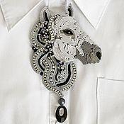 Украшения handmade. Livemaster - original item Soutache brooch Horse grey black, gift for her. Handmade.