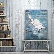 Картины ручной работы. Ярмарка Мастеров - ручная работа Цапли, картина с птицами, пейзаж. Handmade.