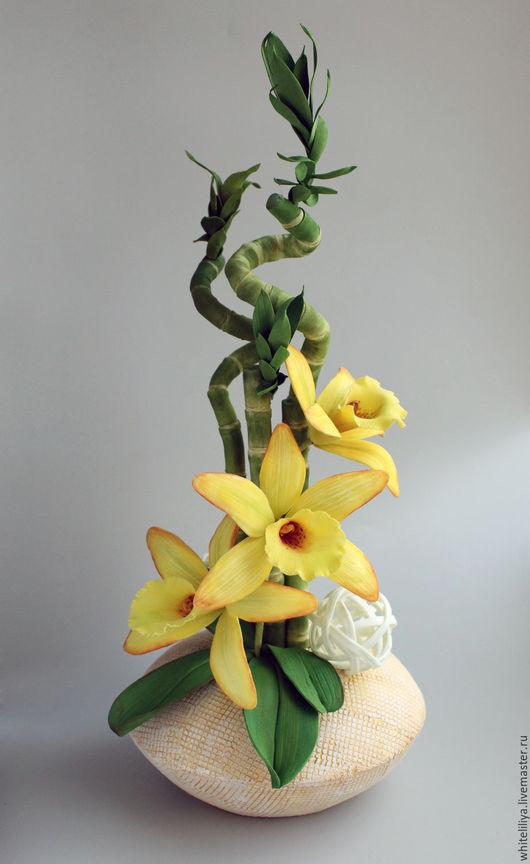 Цветы ручной работы. Ярмарка Мастеров - ручная работа. Купить МК Бамбук и ванильная орхидея из фоамирана. Handmade. Желтый, пастель
