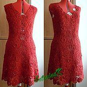 Одежда ручной работы. Ярмарка Мастеров - ручная работа Красное платье в наборной технике. Handmade.