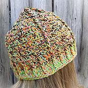 Аксессуары ручной работы. Ярмарка Мастеров - ручная работа Вязаная теплая шапка из пряжи шерсть и хлопок Яркая. Handmade.