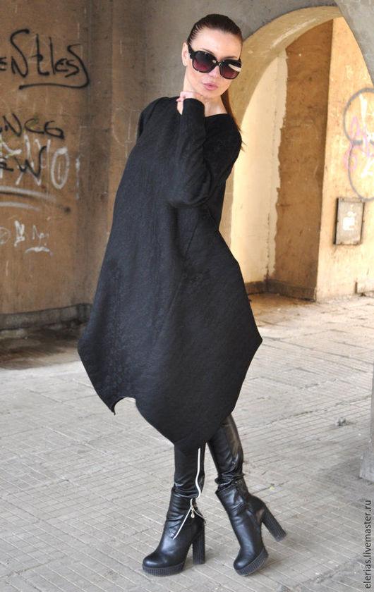 Черное платье-туника. Кашемировая туника. Асимметричная туника. Туника из кашемира. Платье с длинным рукавом. Модная одежда.