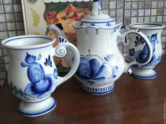 Винтажная посуда. Ярмарка Мастеров - ручная работа. Купить Гжель чайник кружки винтаж. Handmade. Синий, фарфор