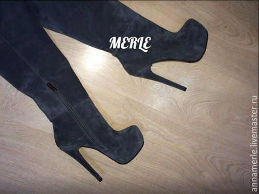 Обувь ручной работы. Ярмарка Мастеров - ручная работа. Купить Ботфорты серый замш 15 см, 5 см платформа. Handmade.