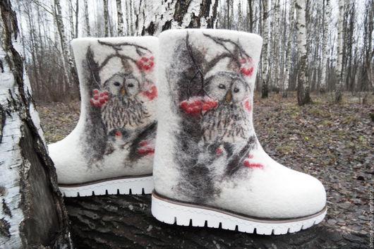 """Обувь ручной работы. Ярмарка Мастеров - ручная работа. Купить Валенки """"Совушки"""" (Проданы). Handmade. Белый, валенки ручной валки"""