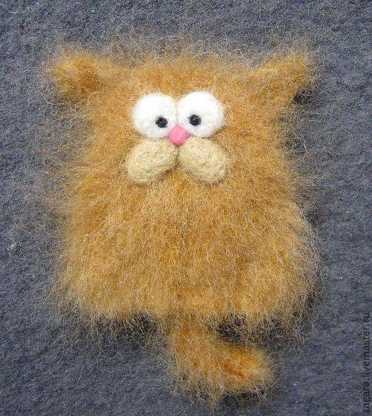 Броши ручной работы. Ярмарка Мастеров - ручная работа. Купить Рыжий чёртик :). Handmade. Оранжевый, коты, коты и кошки