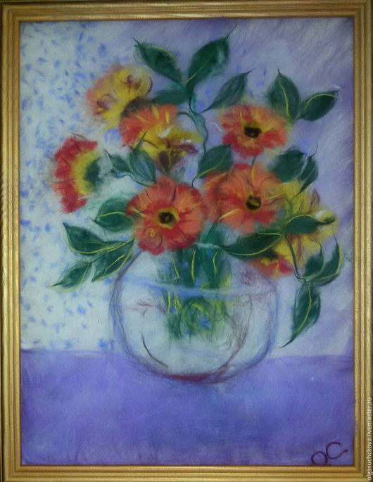 Картины цветов ручной работы. Ярмарка Мастеров - ручная работа. Купить Цветы. Handmade. Рыжий, букет цветов